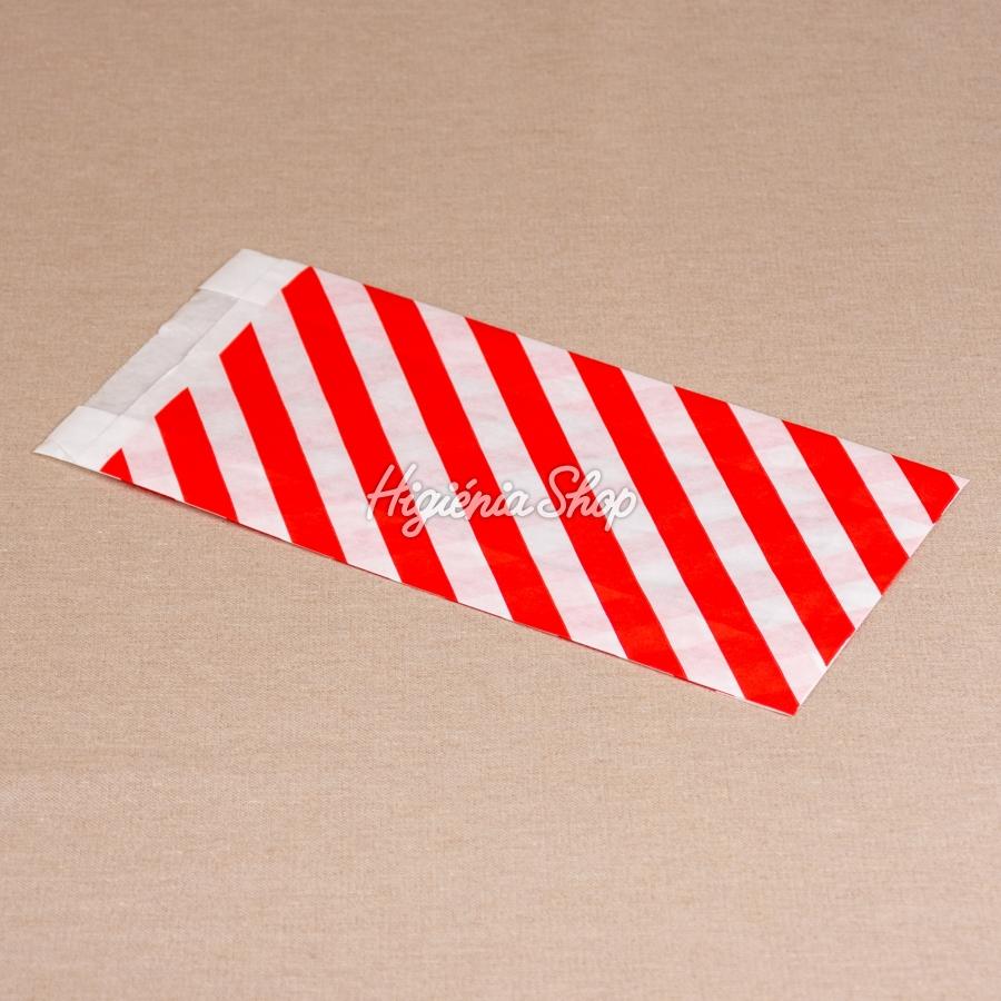 ea3c22b0d9 1 kg-os, piros csíkos fehér papírzacskó, 200 db | BontaBag