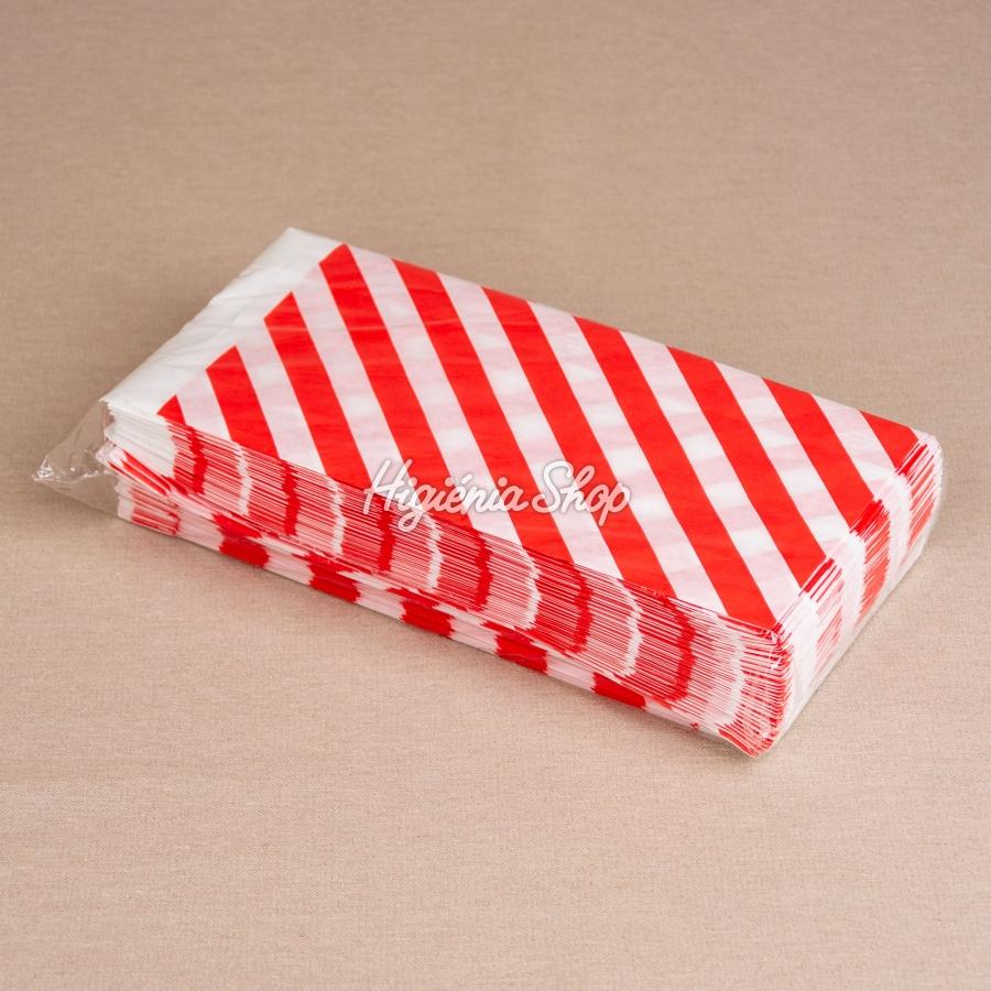 d48b35428743 1 kg-os, piros csíkos fehér papírzacskó, 200 db   BontaBag